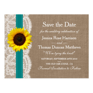 The Rustic Sunflower Wedding Collection - Teal Postcard
