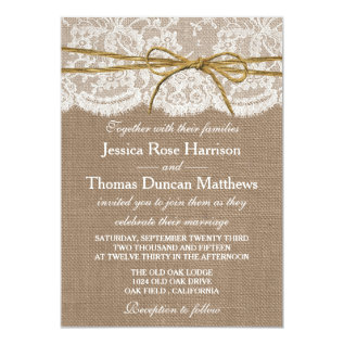 The Rustic Twine Bow Wedding Collection Card at Zazzle