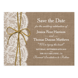 The Rustic Twine Bow Wedding Collection Postcard