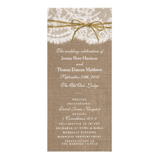 The Rustic Twine Bow Wedding Collection - Programs Rack Card Design