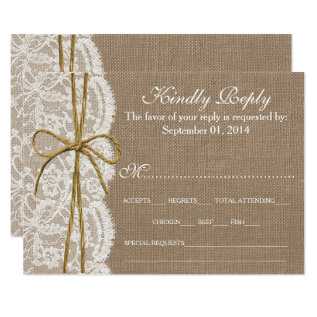 The Rustic Twine Bow Wedding Collection - Rsvp Card at Zazzle