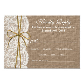 The Rustic Twine Bow Wedding Collection - RSVP Card