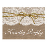 The Rustic Twine Bow Wedding Collection - RSVP Postcard