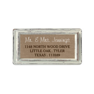 The Rustic White Frame & Burlap Wedding Collection Label