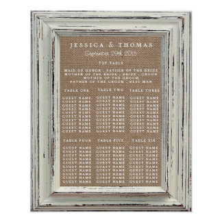 The Rustic White Frame & Burlap Wedding Collection Poster