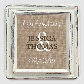The Rustic White Frame & Burlap Wedding Collection Square Sticker