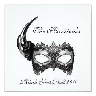 """""""The ______'s Mardi Gras Ball 2011"""" 5.25"""" Square Invitation Card"""