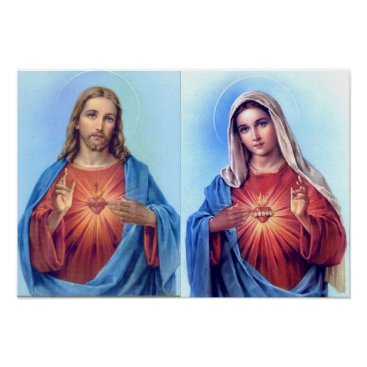 Valentines Themed The Sacred Heart and The Immaculate Heart Poster