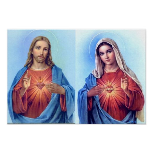 The Sacred Heart and The Immaculate Heart Poster