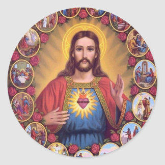The Sacred Heart Of Jesus Classic Round Sticker