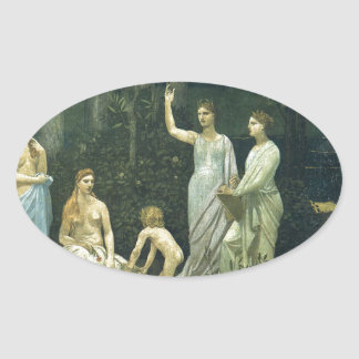 The Sacred Wood Cherished by the Arts Oval Sticker