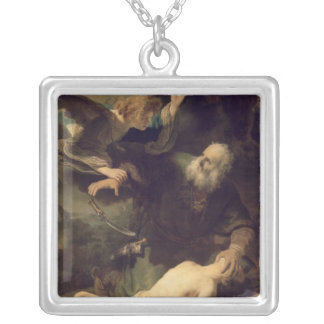 The Sacrifice of Abraham, 1635 Square Pendant Necklace