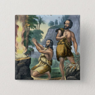 The Sacrifice of Cain and Abel, from a bible print Pinback Button