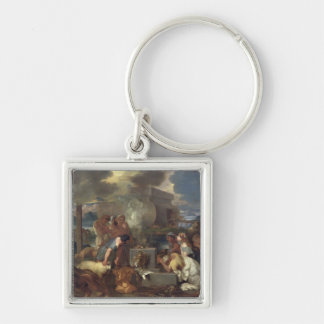 The Sacrifice of Noah, c.1640 Silver-Colored Square Keychain