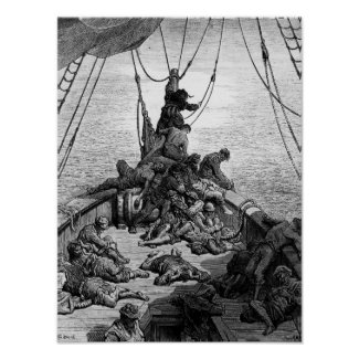 The sailors becalmed and tormented by thirst