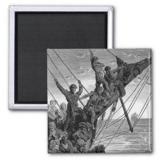 The sailors see in the distance a ghostly ship 2 inch square magnet