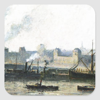 The Saint Sever Bridge at Rouen, Fog by Camille Square Sticker
