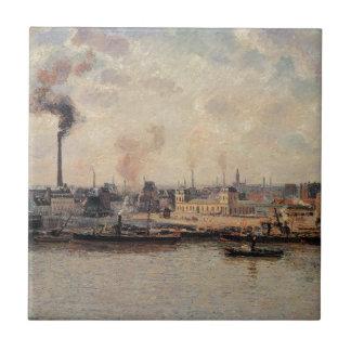 The Saint Sever Quay, Rouen by Camille Pissarro Ceramic Tile