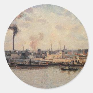The Saint Sever Quay, Rouen by Camille Pissarro Classic Round Sticker