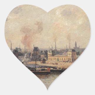 The Saint Sever Quay, Rouen by Camille Pissarro Heart Sticker