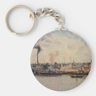 The Saint Sever Quay, Rouen by Camille Pissarro Keychain