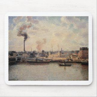 The Saint Sever Quay, Rouen by Camille Pissarro Mouse Pad