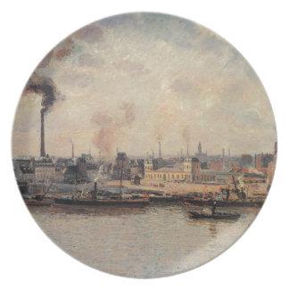 The Saint Sever Quay, Rouen by Camille Pissarro Plate