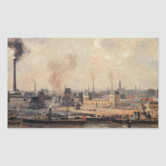 The Saint Sever Quay, Rouen by Camille Pissarro Rectangular Sticker