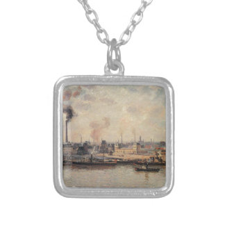 The Saint Sever Quay, Rouen by Camille Pissarro Square Pendant Necklace