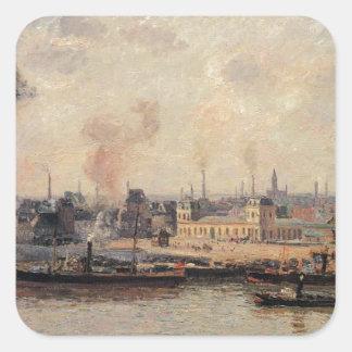 The Saint Sever Quay, Rouen by Camille Pissarro Square Sticker