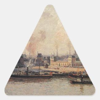 The Saint Sever Quay, Rouen by Camille Pissarro Triangle Sticker