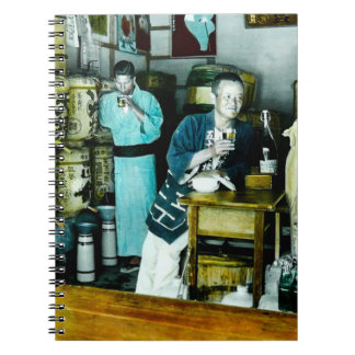 The Sake Merchants of Old Japan Vintage Hand Tint Spiral Notebook
