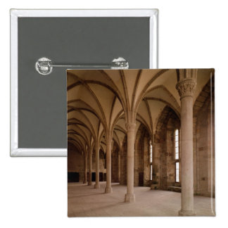 The Salle des Hotes, interior view of the Abbey 2 Inch Square Button