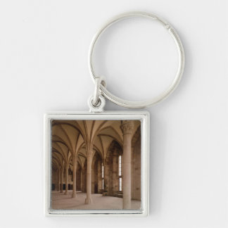 The Salle des Hotes, interior view of the Abbey Silver-Colored Square Keychain