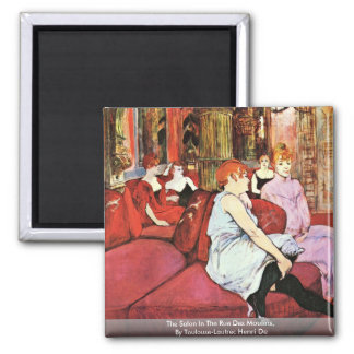 The Salon In The Rue Des Moulins 2 Inch Square Magnet
