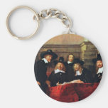 The Sampling Officials. By Rembrandt Van Rijn Basic Round Button Keychain