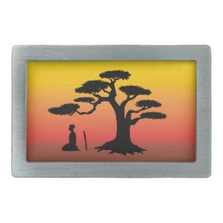The Samurai and The Sunset Tree Rectangular Belt Buckle