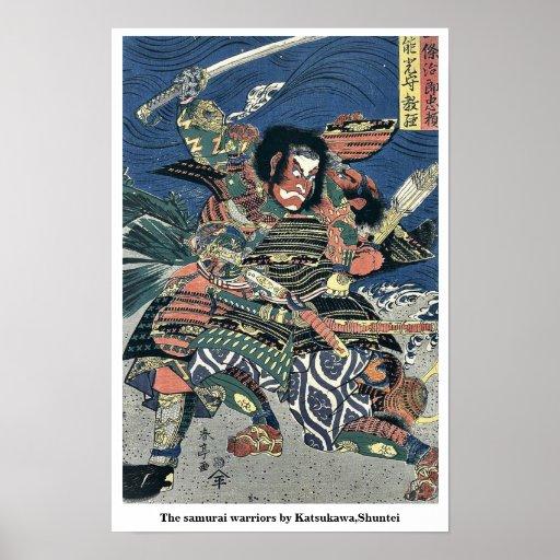 The samurai warriors by Katsukawa,Shuntei Poster