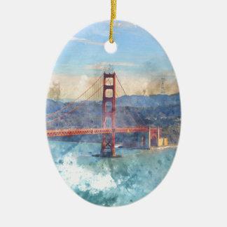 The San Francisco Golden Gate Bridge in California Ceramic Ornament