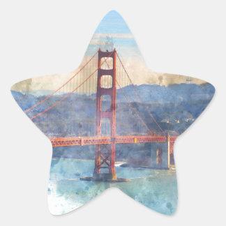 The San Francisco Golden Gate Bridge in California Star Sticker