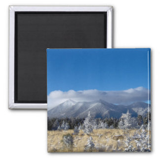 The San Francisco Peaks Of Flagstaff Freshly Coate 2 Inch Square Magnet