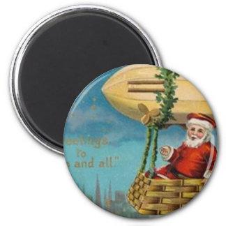 The Santa Blimp 2 Inch Round Magnet