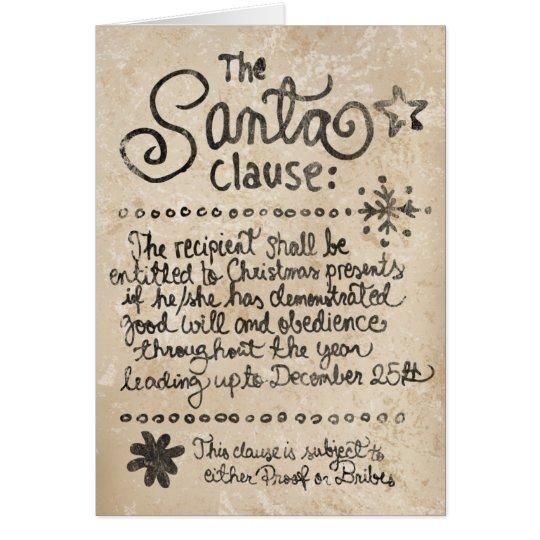 The SANTA clause aged Card