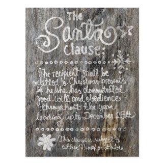 The SANTA Clause Aged Wood Dark Postcard