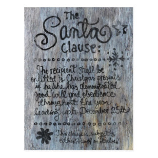 The SANTA Clause Aged Wood Post Card