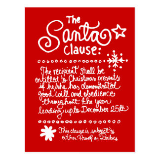 The SANTA Clause Red Post Cards