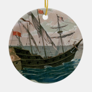 The Santa Maria Approaching the Coast of the New W Ceramic Ornament