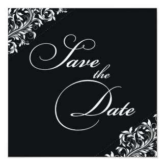 The Sarah Jane black and white Save the Date Card