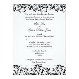 The Sarah Jane black and white wedding invitation