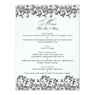 The Sarah Jane black and white wedding menu Card